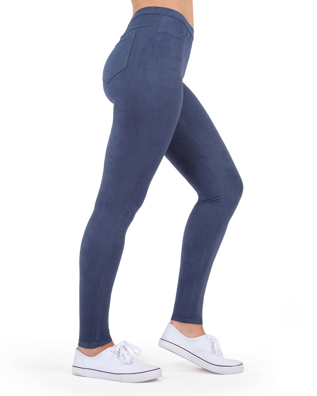 MeMoi Microsuede Leggings   Women's Premium Fashion Leggings Peacoat MQ 008 Small/Medium