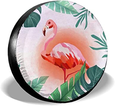 Spare Tire Cover Hawaiian Flamingo Travel Universal Spare Wheel Cover Fit SUV Car Accessories