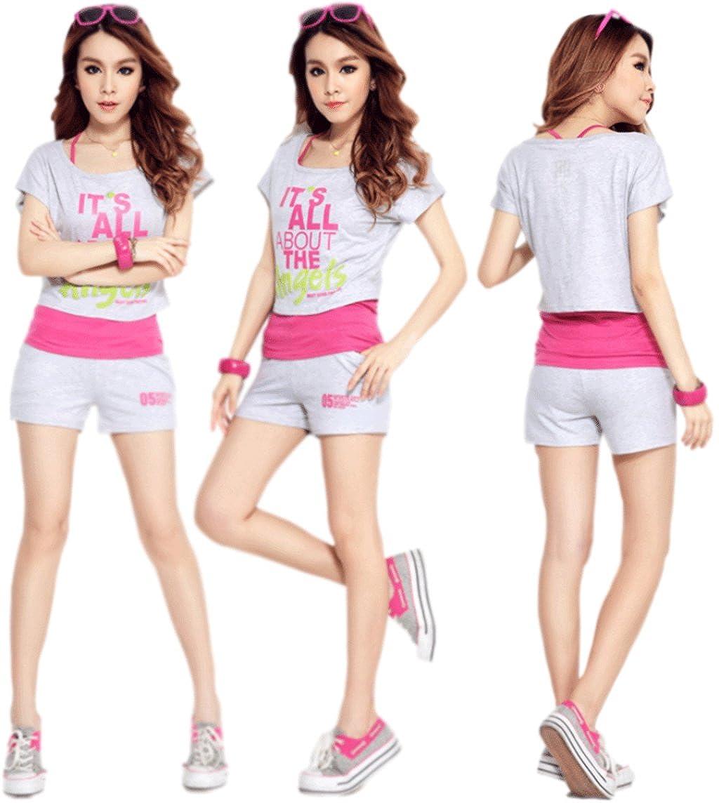 Unomatch Girls Summer Sportswear Suits Grey with Pink