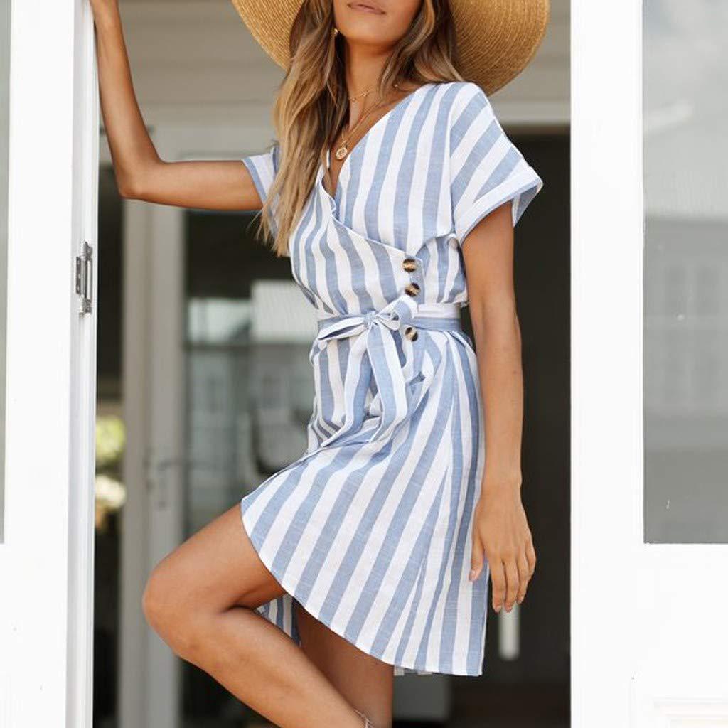 Vestidos Casual para Mujer,Mujeres Vacaciones Manga Corta V Cuello Wrap Mini Vestido Damas Verano Vestido de Rayas Vestido de Playa Vestido de Fiesta Vestido de Noche