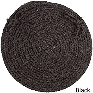 product image for Rhody Rug Madeira Reversible Braided Chair Pads (Set of 4) Black