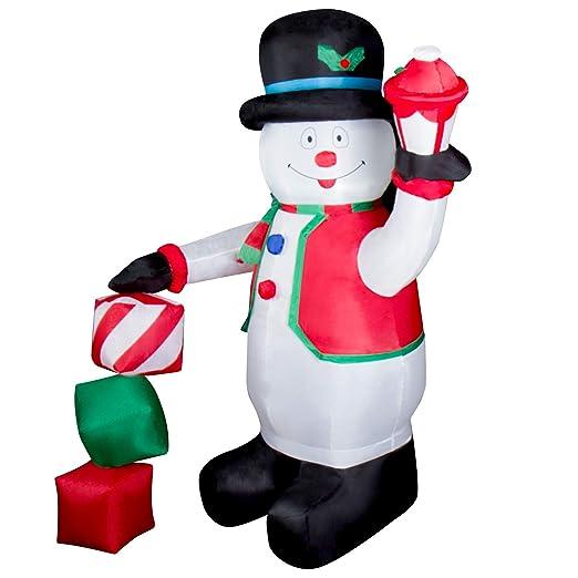 CCLIFE Muñeco inflable de nieve LED, 120cm o 180 cm, exterior, iluminación navideña, Color:Blanco007-180cm