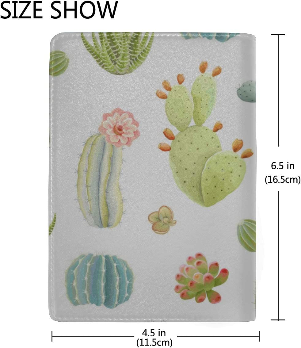 Flowers Pots With Cacti And Succulents Blocking Print Passport Holder Cover Case Travel Luggage Passport Wallet Card Holder Made With Leather For Men Women Kids Family