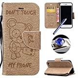 """iPhone 7 Wallet Case,iPhone 7 2016 Leather Case,Etsue Cute Funny Bear Quote Cool Leather Magnetic Bookstyle Strap Wallet Case Cover with Card Holder for iPhone 7 4.7""""+Blue Stylus Pen+Bling Glitter Diamond Dust Plug(Colors Random)-Bear,Gold"""