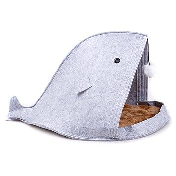 TJW Cama para Perro & Gato,Cama Suave de Perros en Forma de Tiburón,