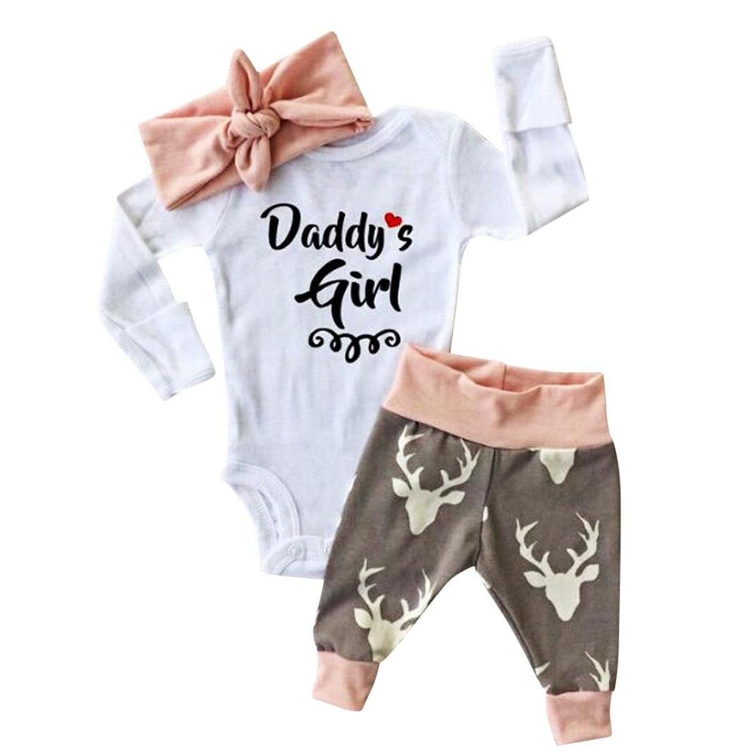 Tenworld Newborn Baby Girls Romper Bodysuit+Pants+Hairband 3pcs Outfits Set