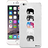 Customizable Hamee Original Designer Cover Thin Fit Crystal Clear Plastic Hard Back Case for Apple iPhone 6 Plus / 6s Plus (Elephants on Grey)