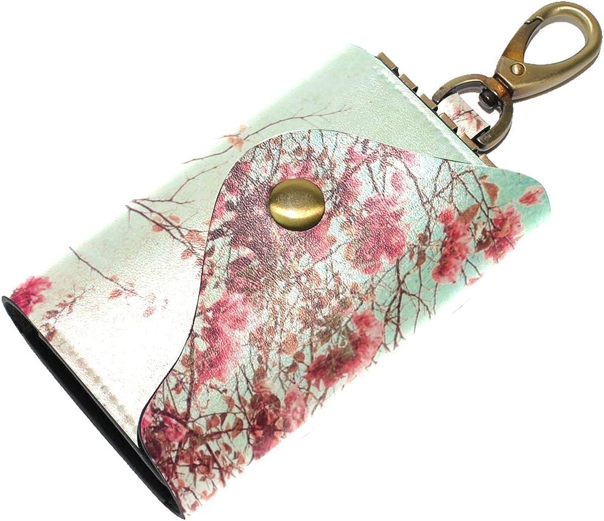 KEAKIA Flowers Leather Key Case Wallets Tri-fold Key Holder Keychains with 6 Hooks 2 Slot Snap Closure for Men Women