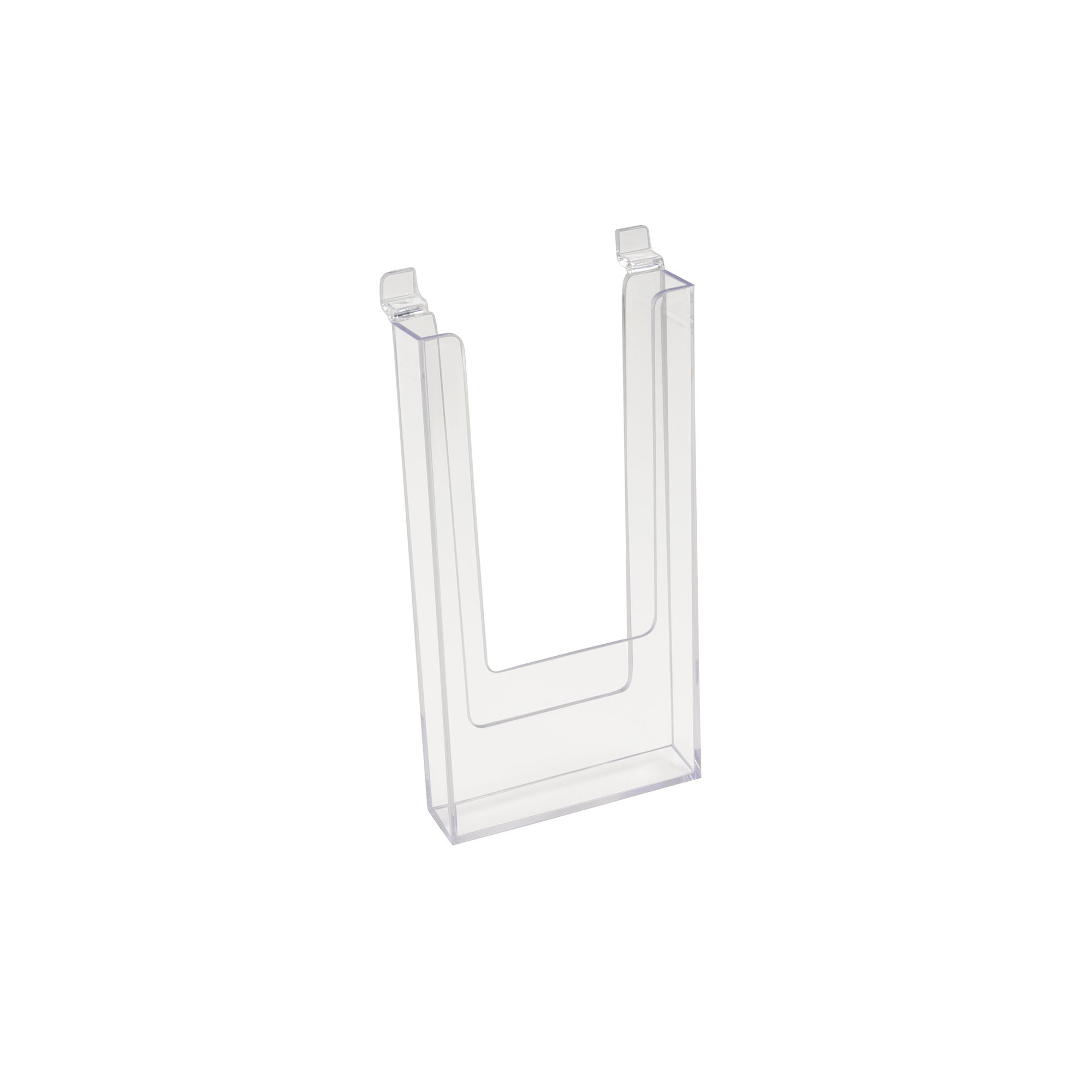 Slatwall 4.5'' x 9'' Clear Acrylic Literature, Trifold Pamphlet Brochure Holder, 5 Pack