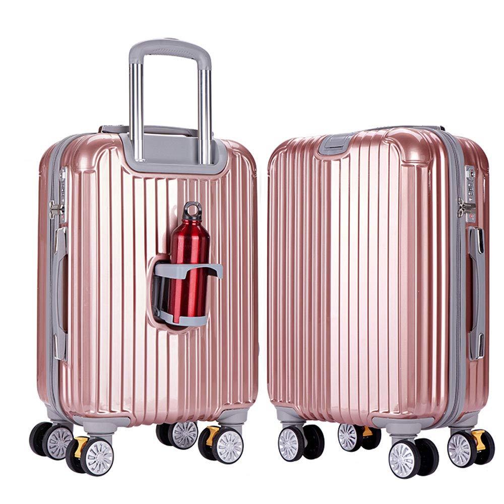 WJ スーツケース トロリーケース - ABS + PC、大径ブレーキホイール、クラムシェルカップホルダー、スタイリッシュなミラー隠しフック大容量スーツケース - 3色、2サイズあり /-/ (色 : ローズゴールド, サイズ さいず : 43*26*66cm) B07NL7FNB3 ローズゴールド 43*26*66cm