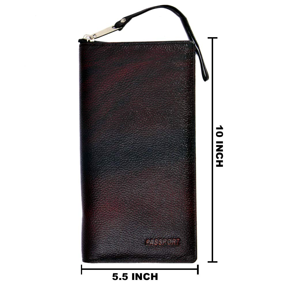 Passport Case Airline Ticket Travel Organizer Wallet Holder Safe Zippered Color Brown Size 5.5 Inch X 10 Inch with Handle