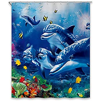 Ambesonne Underwater Shower Curtain Ocean Decor by, Reef Tropical Island Palm Trees and Artistic Photography Scene, Polyester Fabric Colorful Bathroom, 69x70 Inches, Aqua Blue White and Green 80%OFF