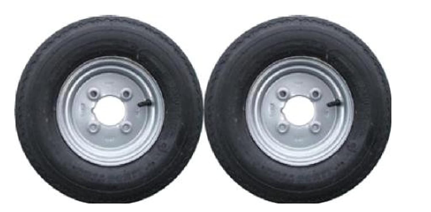 A pair of 3.50 x 8 inch trailer wheels and 4 ply tyres with 115mm PCD Erde 102