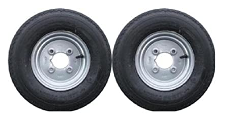 leisure MART Pack de 2 Ruedas con Llantas para Remolque, con neumáticos de 4 Capas