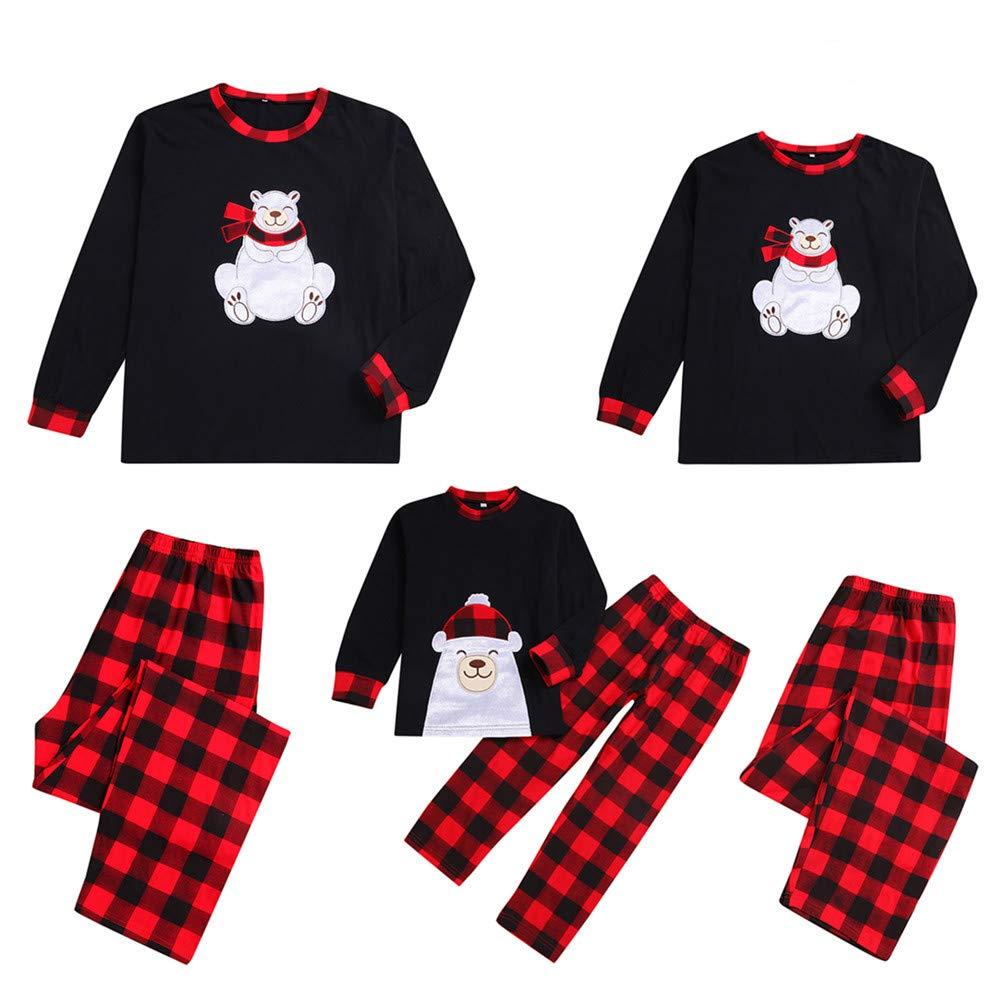 Natale Famiglia Corrispondenza Pigiami Due Pezzi Pigiami Natale Famiglia Donna Uomo Ragazze Ragazzo Ragazzi Orso Pigiama Plaid Pantaloni Set Indumenti da Notte Vestiti per la casa Regali di Natale