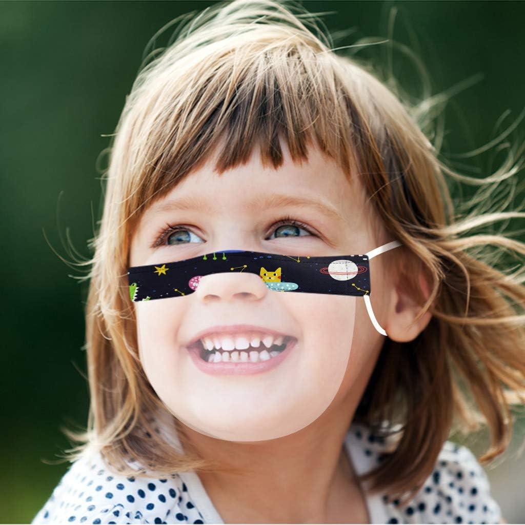 CHshe Kids Mini Visi/ère Visi/ère Lavable Transparent Prot/ège-Bouche R/éutilisable Confortable Confortable pour Les Enfants de L/École Gar/çons Et Filles H