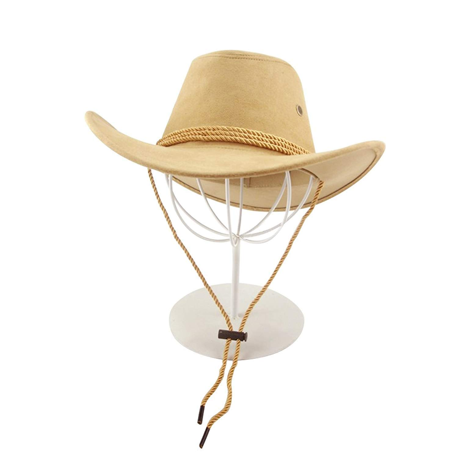 Beige 1 Pcs Western Cowboy Hat Casual Wide Brim Sunhat for Spring Summer Unisex