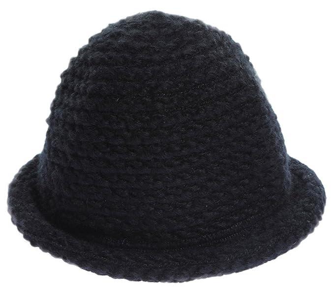 a146530ba83 Amazon.com  COMVIP Womens Winter Warm Crochet Knitted Short Brim Bucket Hat  Cap Black  Clothing
