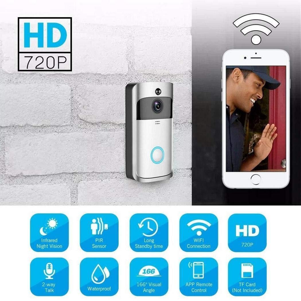 Ultrey Interphone sans Fil Interphone WiFi Interphone avec Son Carillon 720P HD Audio Vision Nocturne IR bidirectionnelle D/étection de Mouvement PIR HD 166 /° Vue en Angle Contr/ôle APP Contr/ôle