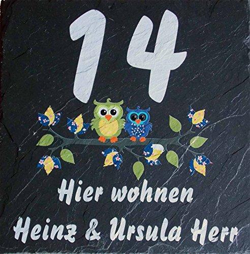 Haustürschild, Hausnummer, Namensschild aus Schiefer mit Farbdruck, ganz nach Ihren Wünschen gefertigt, incl. Abstandshalter aus Edelstahl