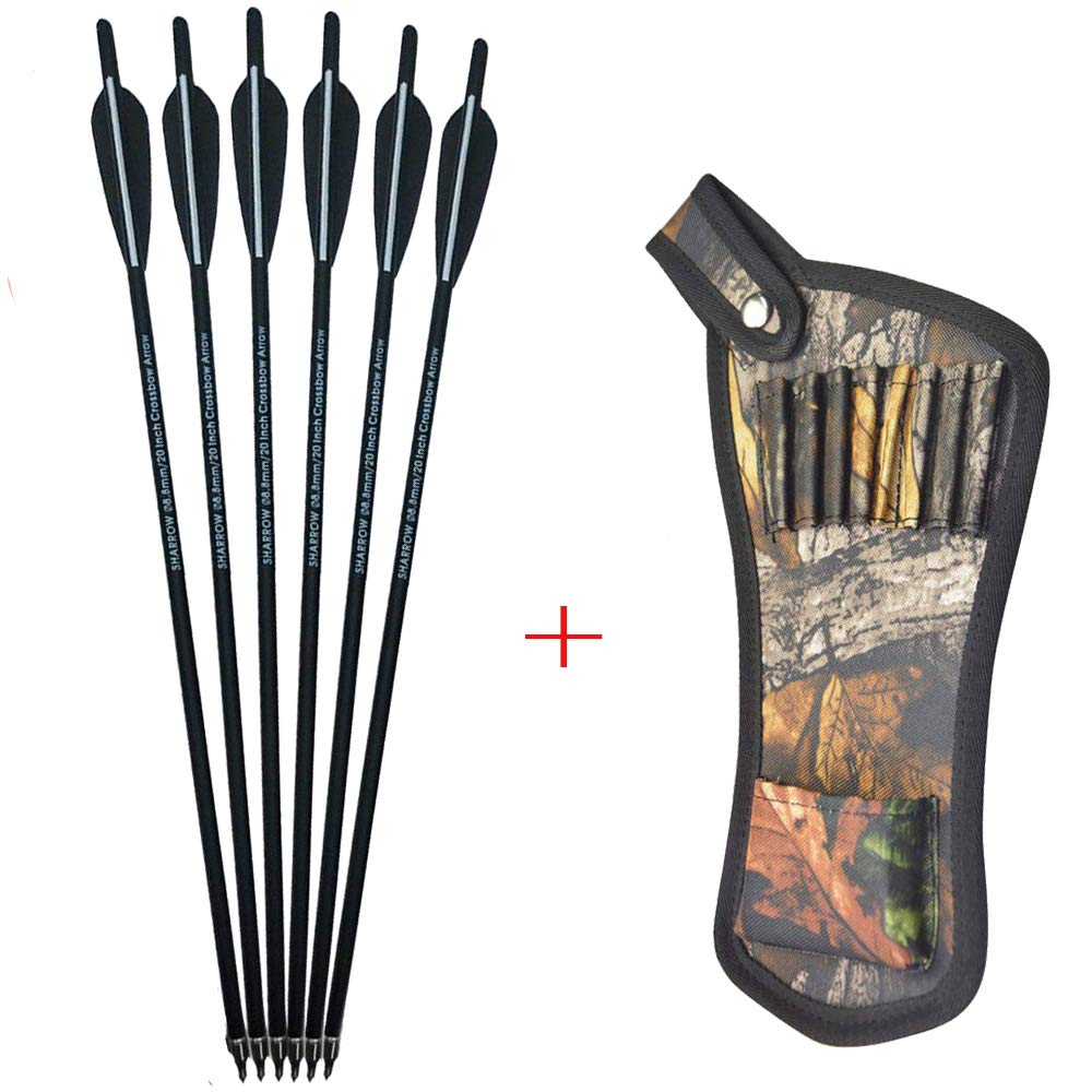 AMEYXGS 12pcs Crossbow Bolts Arrows Carbon Shafts Crossbow Arrows 16'' 17'' 18'' 20'' 22'' Hunting Practice Arrows with Arrow Quiver (Black, 20inch) by AMEYXGS