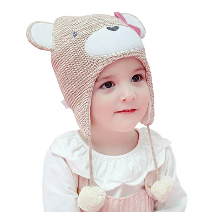 Tortor 1Bacha Infnat Baby Kid Girl Boy Cute Bear Knit Ear Beanie Hat
