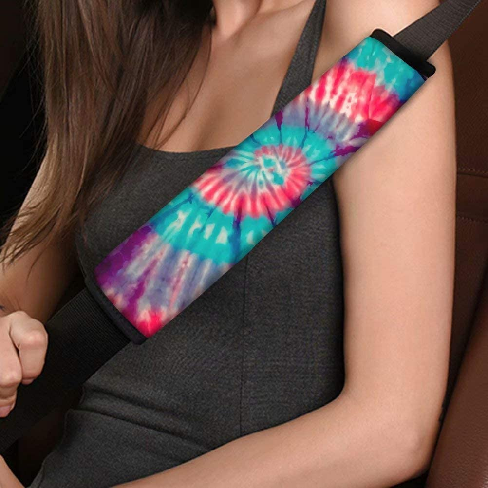 NDISTIN Tie-dye Car Seat Belt Covers for Women Girls Gifts Fashion Auto Interior Car Accessories Safety Seatbelt Shoulder Strap Pads 2 Pack Soft Comfortable