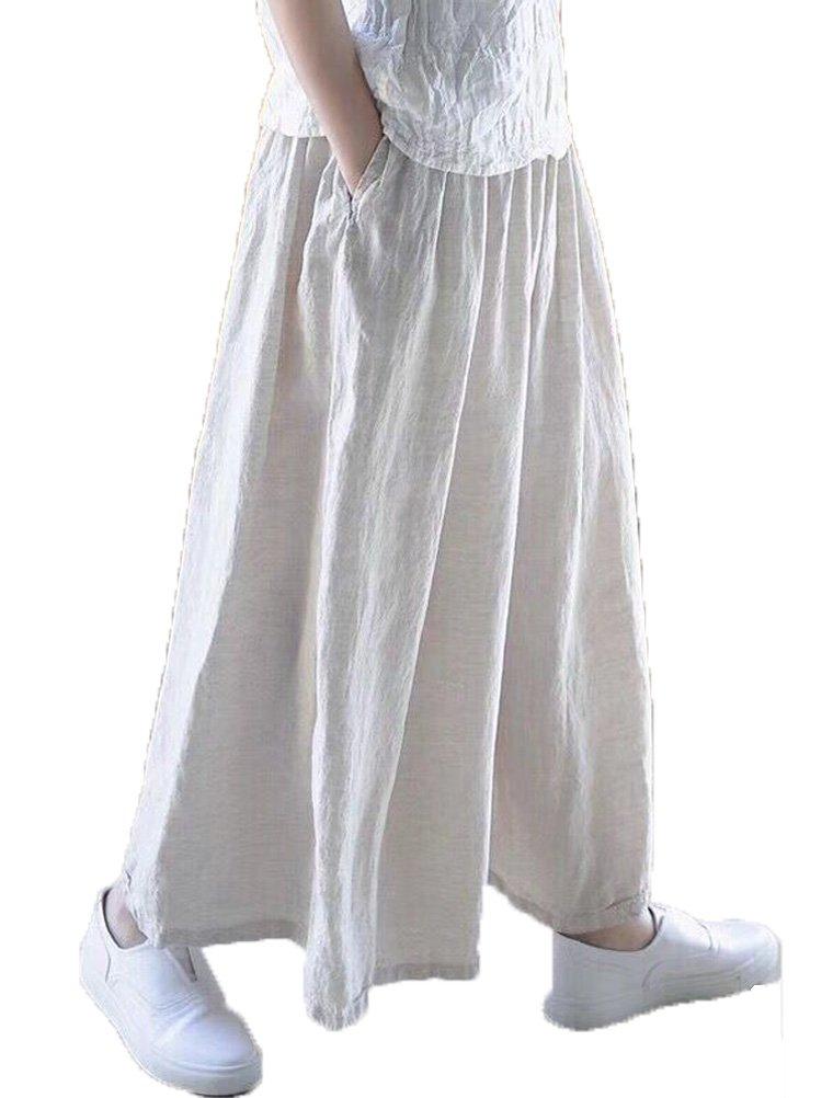 Mordenmiss Women's Linen Elastic Waistband Wide Leg Pants Trouser (L, Nature)
