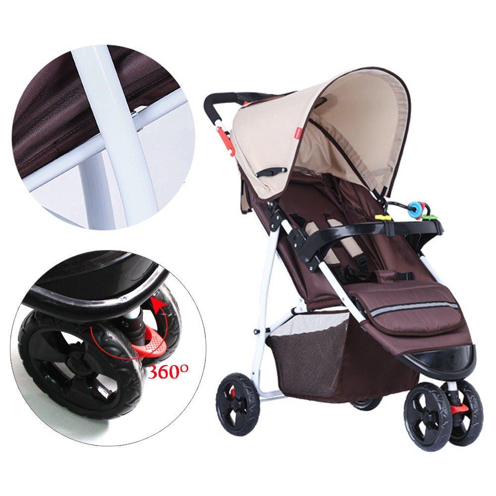 SENDERPICK Quick Fold Kinderwagen Kinderwagen Travel System Kinderwagen Buggy Baby Kind Kinderwagen faltbare 3 R/äder Khaki