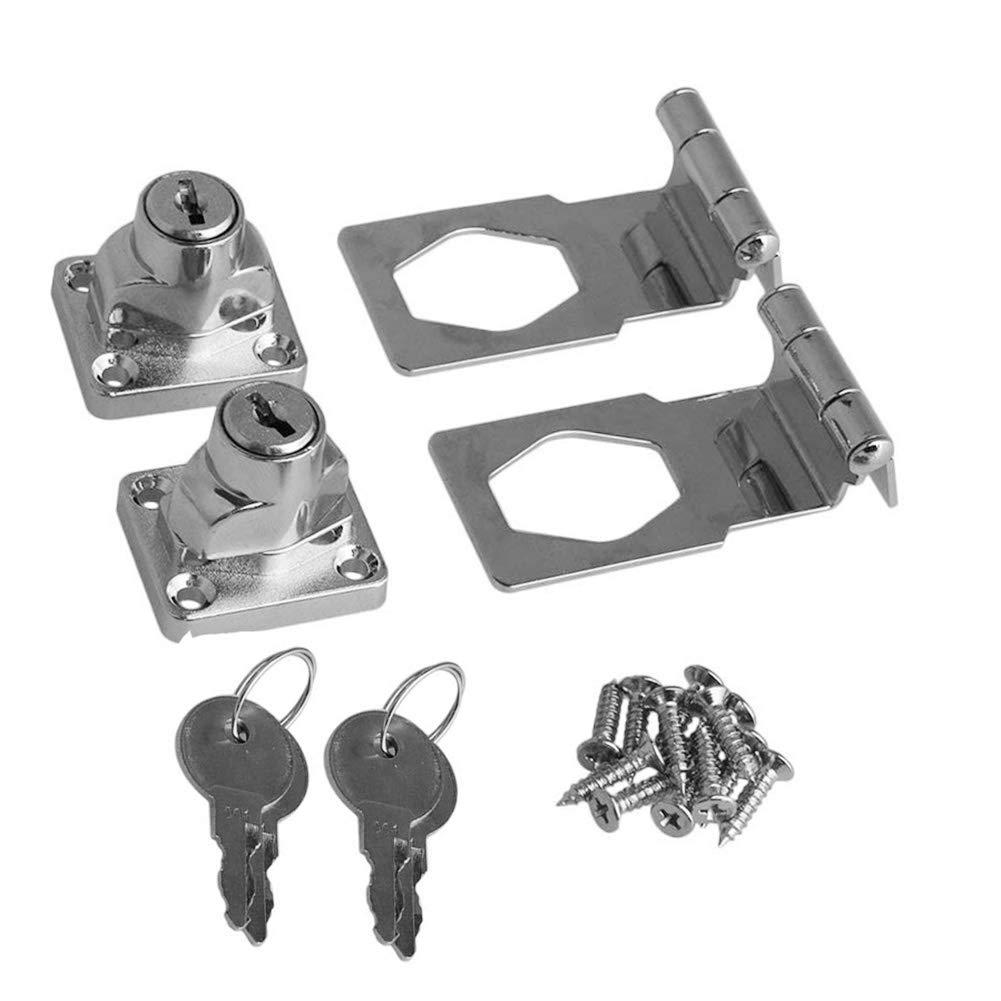 BTMB 2.5 Inch Keyed Hasp Lock 90 Degrees Safety Guard Twist Knob Lock Latch for Doors Cabinets Pack of 2,Keyed Alike by BTMB