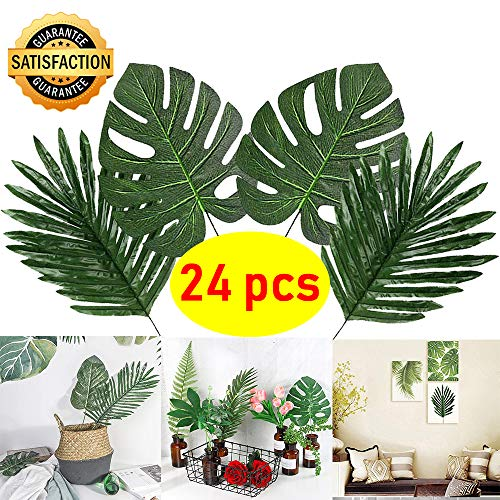 Coodoo Palm Leaves with Stem Tropical Leaves Party Decorations for Home Kitchen Table Leaf Decor Hawaiian Theme Party Supplies-24pcs