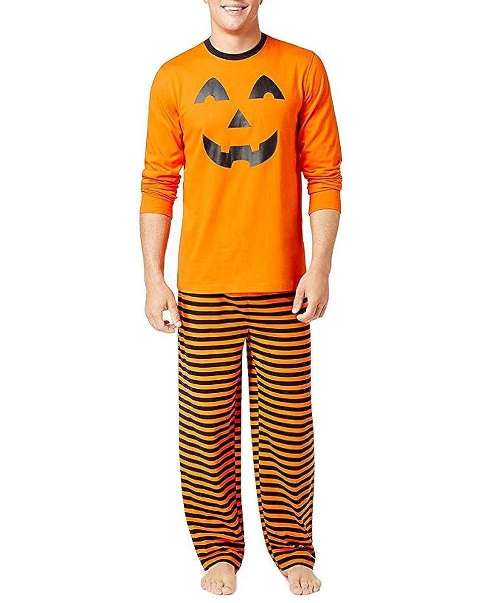 Family Pajamas Mens Pumpkin Pajama Set Large Orange