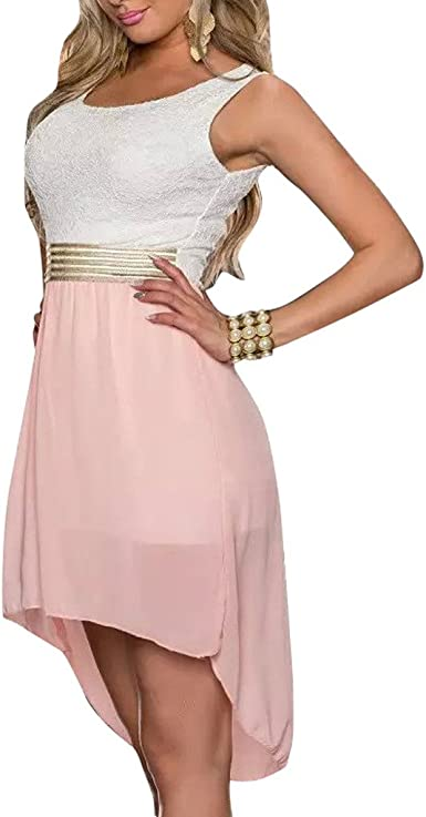 Relaxlama Womens Lace Bra Sleeveless Hi-Low Chiffon Clubwear Party Wear