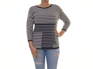 American Living Womens Boatneck Striped Pullover Sweater Navy M