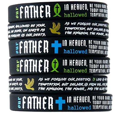 (12-pack) The Lord's Prayer Bible Bracelets w/Christian Fish, Cross, Dove Symbols - Wholesale Bulk Pack of Religious Silicone Wristbands