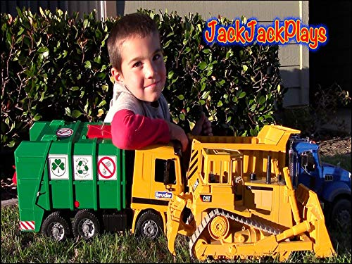 Bruder Toy Trucks At Pond Garbage Truck, Bulldozer, Dump Truck, Loader Construction Vehicles ()