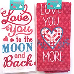 "Valentine Words Kitchen Dish Towels: ""Love You to the Moon and Back"" and ""Love You More"""