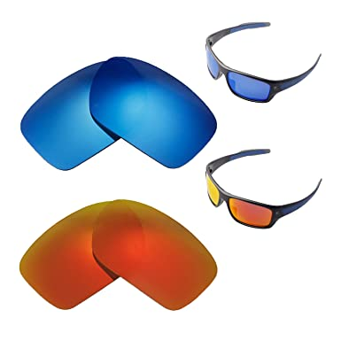 497edf26193 Image Unavailable. Image not available for. Color  Walleva Polarized Fire  Red + Ice Blue Replacement Lenses For Oakley Turbine Sunglasses