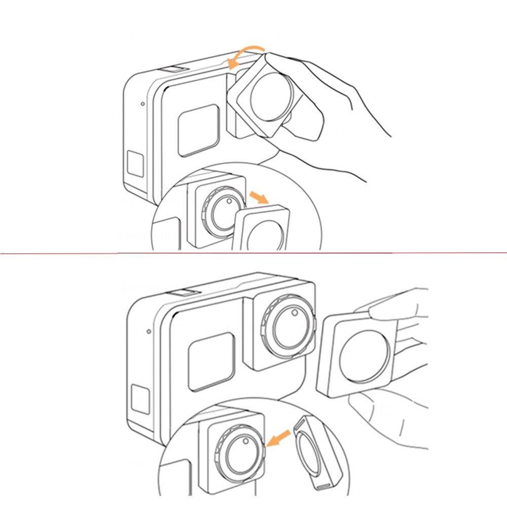 QKOO HD-MRC UV CPL + Gradient Red Orange Grey Blue Filter for GoPro Hero 5 Black/Hero 6 Black/Hero 7 Black/Hero (2018) Version Black Action Sport Camera Lens Accessory by QKOO