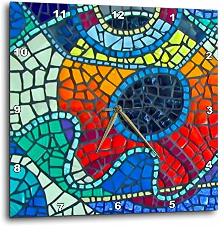 3dRose Lee Hiller Designs Mosaic Tiles – Multi Color Glass Mosaic Tile Sunrise Print II – 15×15 Wall Clock DPP_32460_3