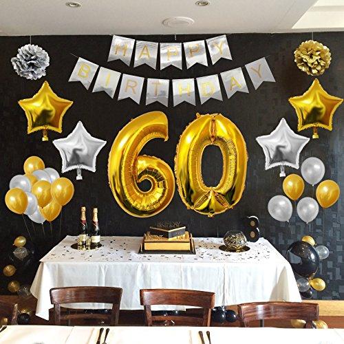 Globos cumplea os happy birthday 60 suministros y - Decoracion cumpleanos adultos 60 anos ...