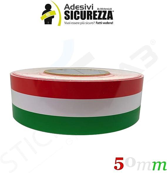 StickersLab Cinta adhesiva tricolor con la bandera de Italia, a rayas, en 4 medidas 5cm, Lunghezza - 1 metro: Amazon.es: Coche y moto