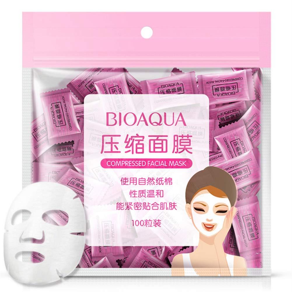 Máscara facial comprimida, 100 PC/paquete Máscara facial natural del cuidado de piel Mascarilla facial de seda no tejida comprimida Diy