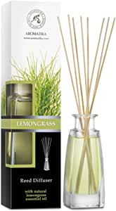 Lemongrass Diffuser w/Lemongrass Oil 3.4oz - Scented Reed Diffuser - 0% Alcohol - Diffuser Gift Set - Best for Aromatherapy - Room Air Fresheners - Lemongrass Essential Oil Diffuser by Aromatika