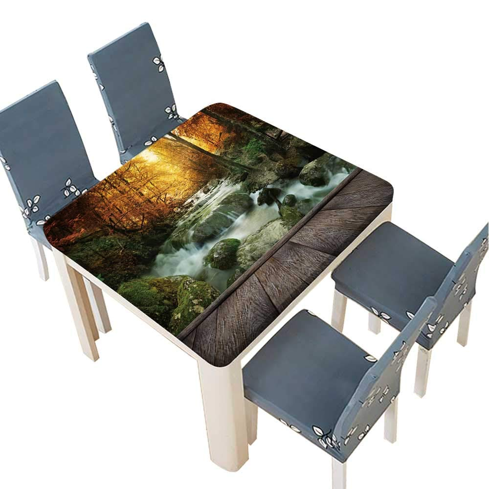 PINAFORE Polyester Cloth Fabric Cover Autumn Creek Woods with Yellow Trees Foliage and Rocks in Forest Mountain and Wood pier Decorative Tablecloths for Kitchen Room 41 x 41 INCH (Elastic Edge)