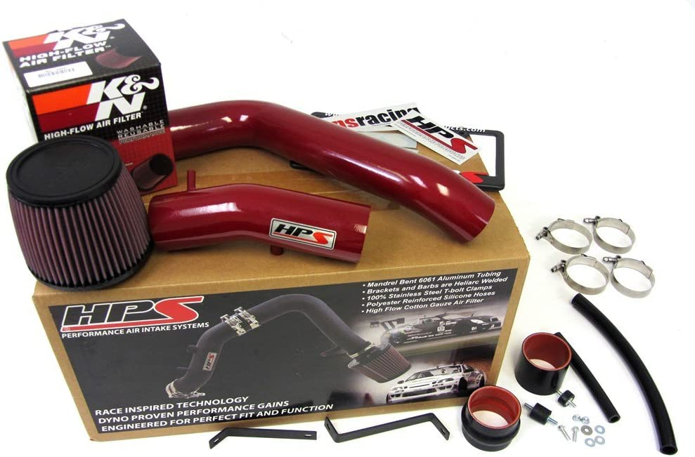 HPS Polish Cold Air Intake Pipe Kit+K/&N Filter For Acura 04-08 TL 3.2L V6