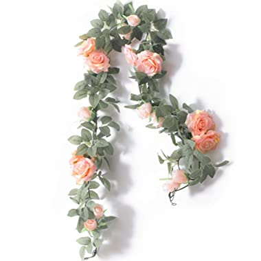 PARTY JOY 6.5Ft Artificial Rose Vine Silk Flower Garland Hanging Baskets Plants Home Outdoor Wedding Arch Garden Wall Decor