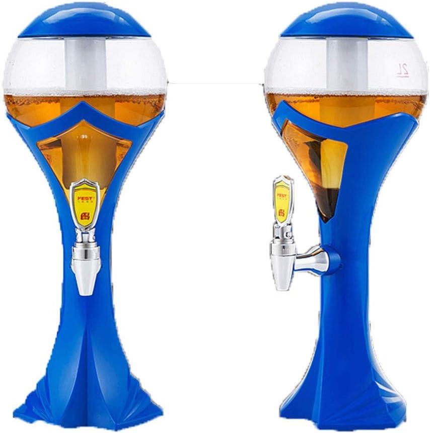 GAELLE Barril De Cerveza Luminoso Colorido De La Taza De Mundo 1.5L / 2L / 3L, Bar De Vinos De La Torre del Vino De La Columna del Vino (Color : Azul, Tamaño : 2 Liters)
