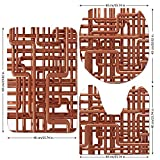 3 Piece Bathroom Mat Set,Copper-Decor,Knot-of-Copper-Pipes-Complex-Entangled-Lines-Hardware-Industry-Inspired-Decorative,Bronze-White.jpg,Bath Mat,Bathroom Carpet Rug,Non-Slip
