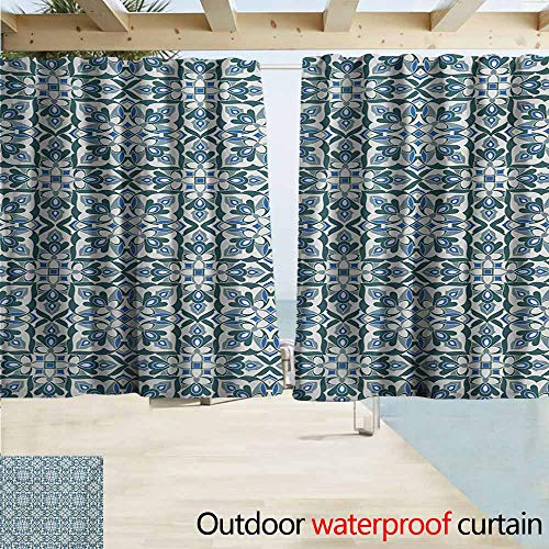 Exterior/Outside Curtains,Vintage Stylized Floral Motifs Hand Tile Ancient Antique European Pattern,Rod Pocket Energy Efficient Thermal Insulated,W55x39L Inches,Reseda Green Silver Blue